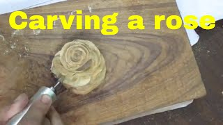 time lapse carving a realistic rose using chisel and dremel