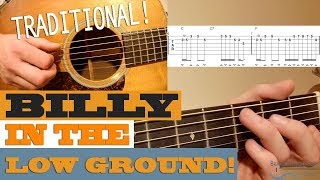 """""""Billy in the Low Ground"""" - BLUEGRASS Traditional Guitar Lesson with TAB"""