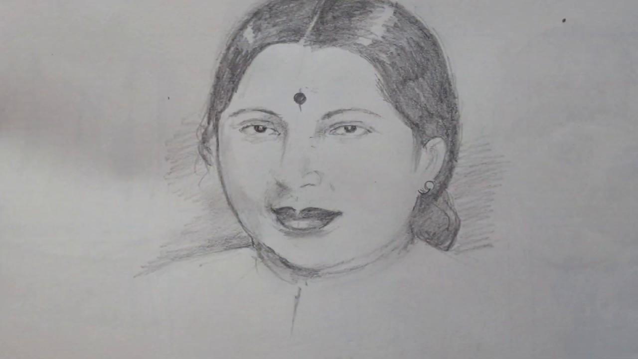 Pencil Drawing Of Jayalalitha Iron Lady Jayalalitha Amma Youtube