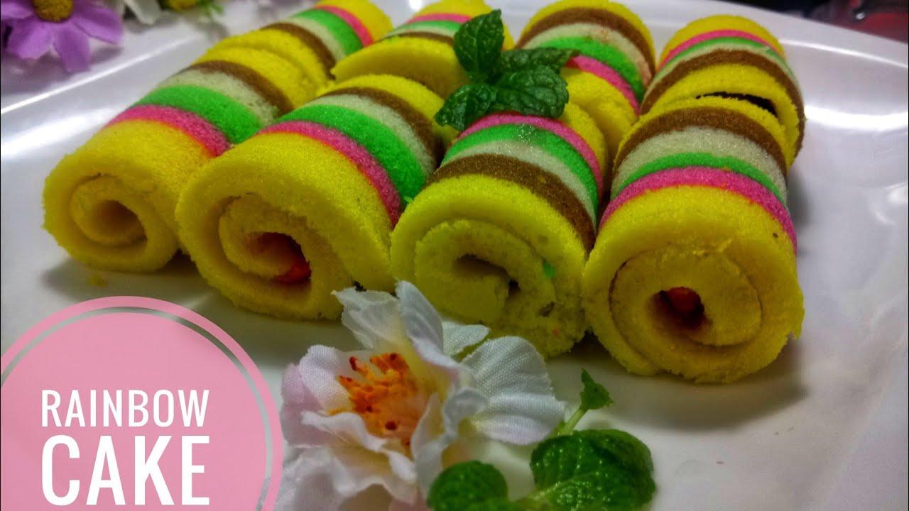 RAINBOW CAKE KUKUS | BOLU GULUNG MINI LEMBUT DAN ENAK ...