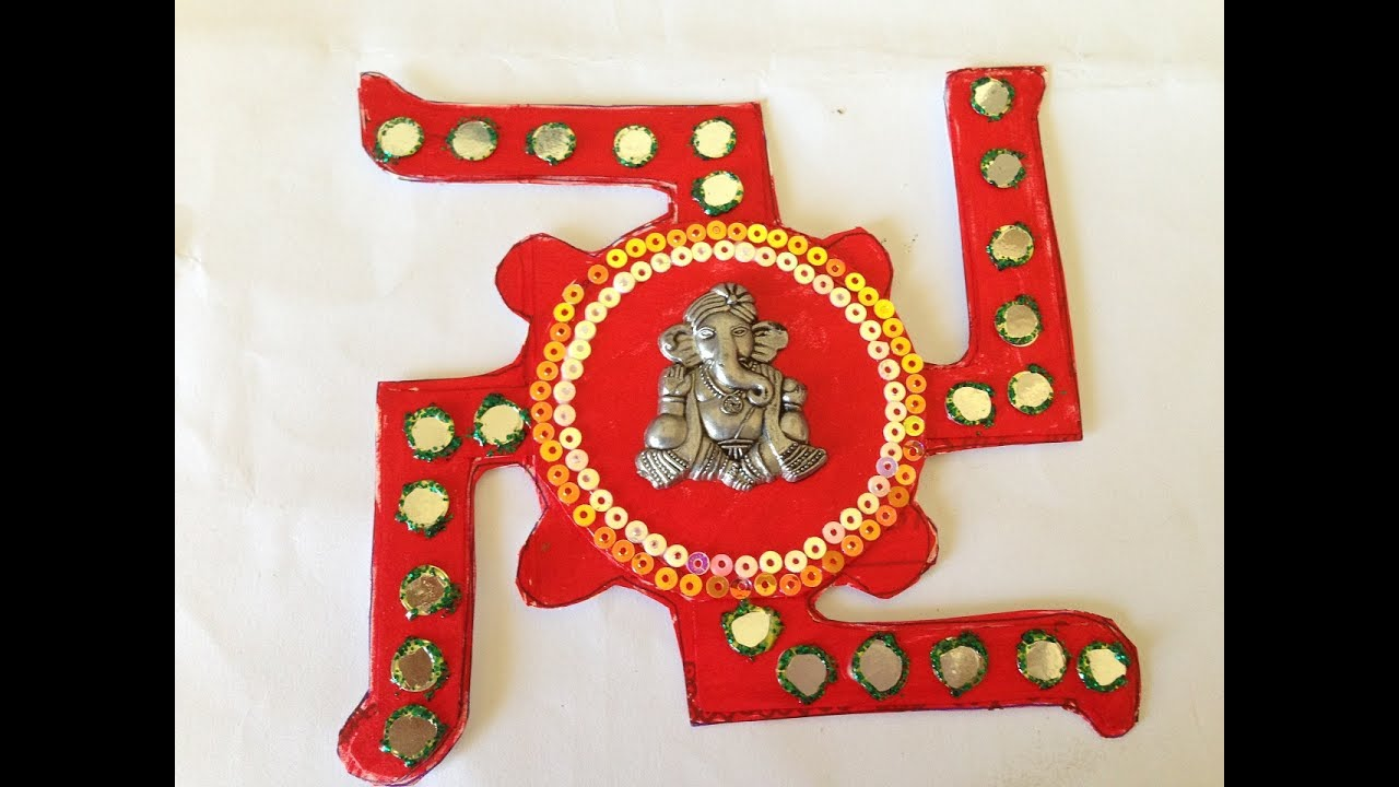 Diy swastik ganesha wall hanging best out of waste for Wall hanging best out of waste
