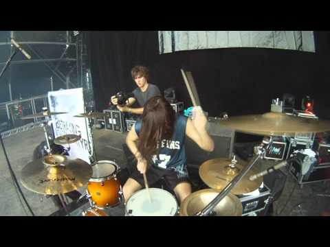 Mark Mironov of Betraying The Martyrs drumming at HELLFEST 2012