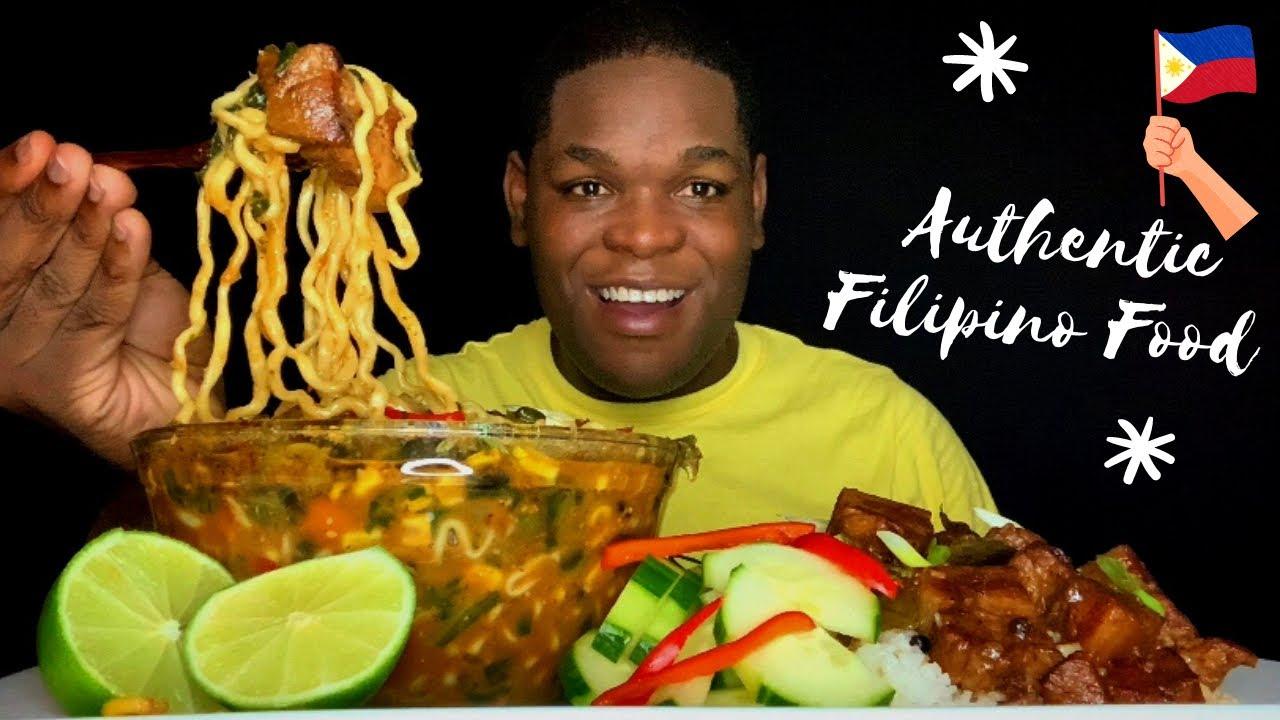 AUTHENTIC FILIPINO PORK ADOBO MUKBANG | SPICY PORK BELLY RAMEN | FILIPINO FOOD MUKBANG