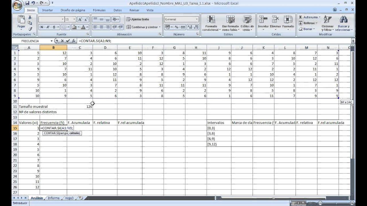 Contar el número de veces que se repite un dato (frecuencia absoluta ...