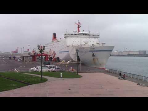 商船三井フェリー・太平洋フェリーの出航シーンと商船三井フェリーの入港シーン