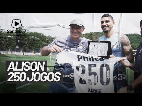 ALISON HOMENAGEADO PELOS 250 JOGOS PELO SANTOS