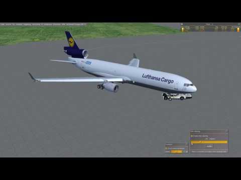 [FlightGear] MD-11F - EDDF/EDDK [Fullflight, Startup, ILS, Commented] [Deutsch/German]