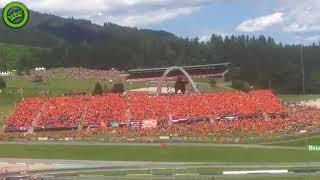 Dutch F1 fans dancing during the 2018 Austrian Grand Prix