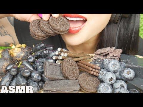 ASMR BLACK MOON GRAPES + POCKY + OREO + HERSHEY + JELLY (EATING SOUNDS) NO TALKING | SAS-ASMR