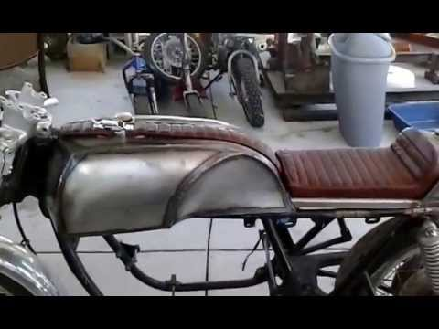 cafe racer upholstery on custom seat and tank. - youtube