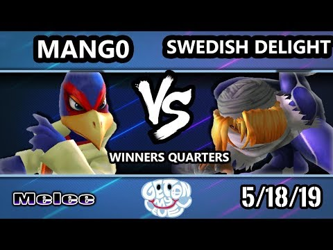 GOML 2019 SSBM - C9 | Mango (Falco) Vs. Swedish Delight (Sheik) Smash Melee Tournament W. Quarters