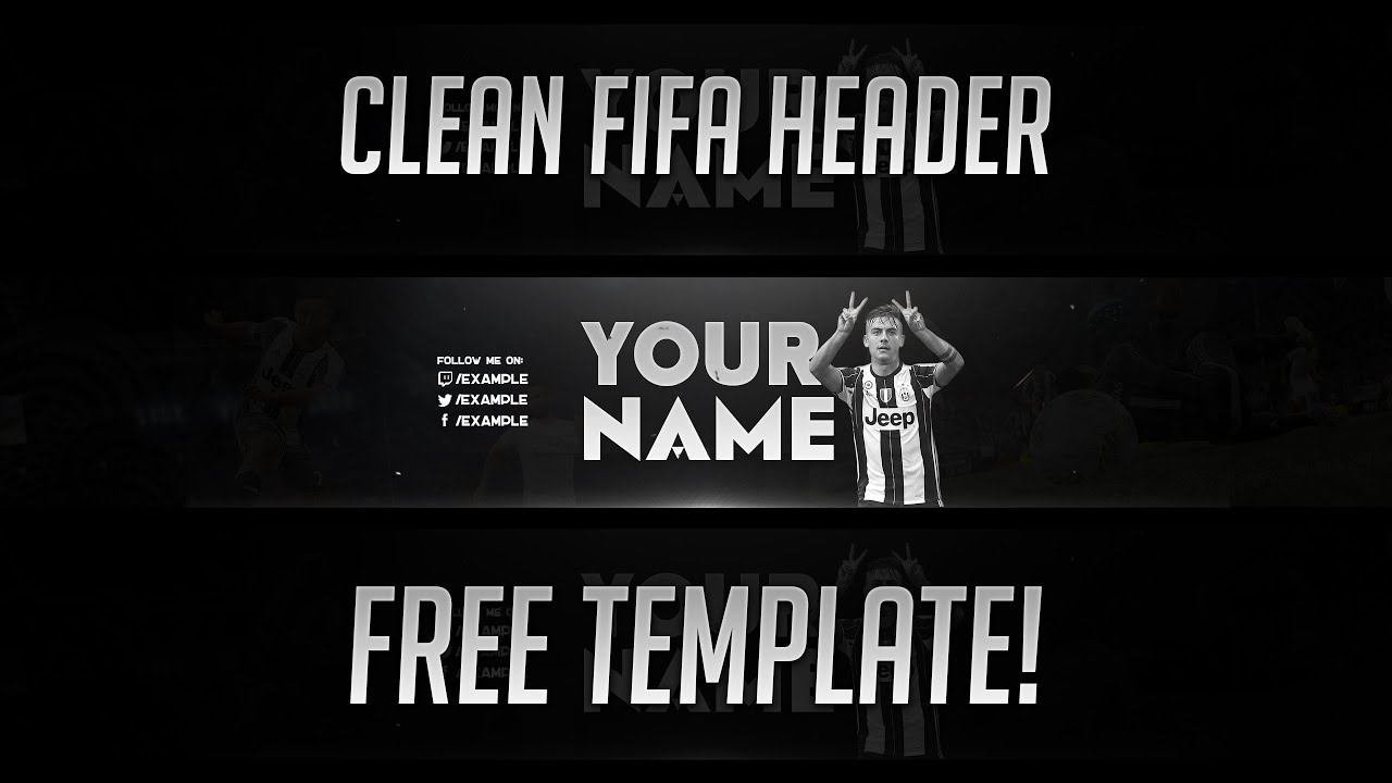 CLEAN YOUTUBE BANNER - FREE TEMPLATE! (FIFA / SOCCER THEMED) - YouTube