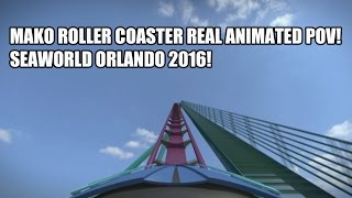mako shark roller coaster seaworld orlando 2016 real pov animation
