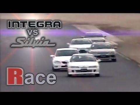 [ENG CC] FR vs FF battle - Integra R, Silvia S15 Spec R, S15 Nismo, S14 battle Tsukuba 1999