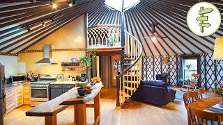 Magical Yurt with Spiral Staircase Loft & Exterior Wooden Shell - Full Tour