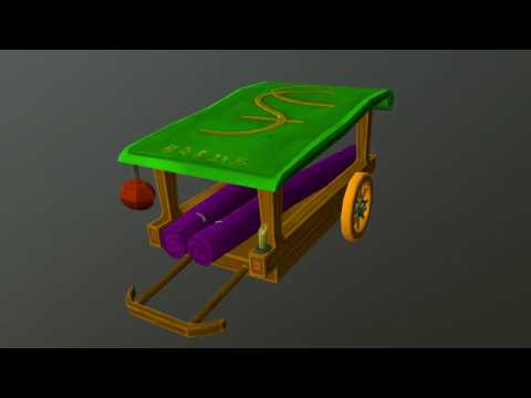 3D Model : Fantasy Chinese Silk Trader Wagon - Turntable