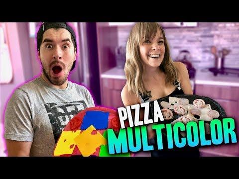 COCINANDO PIZZAS MULTICOLORES !!