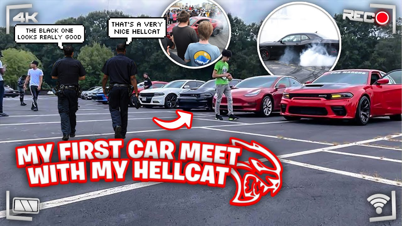 I TOOK MY HELLCAT TO MY FIRST CAR MEET!!! *GUY RUNS FROM COPS, GUY HITS REDEYE & BURNOUTS!!*