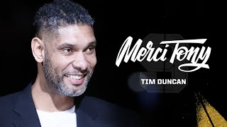 Watch Tim Duncan speak at the Tony Parker Jersey Retirement Night a...