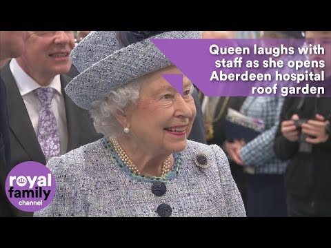 Queen laughs with staff as she opens Aberdeen hospital roof garden