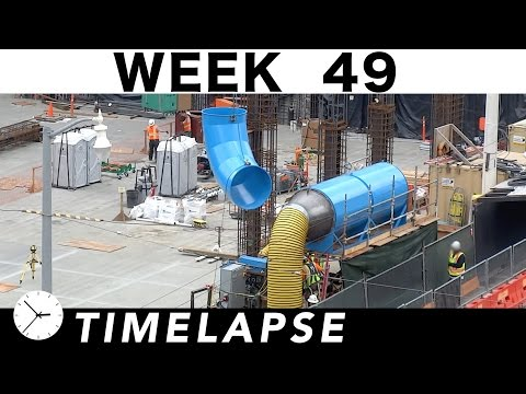 One-week construction time-lapse w/over 47 closeups: Week 49: Ironworkers; welders; carpenters; more