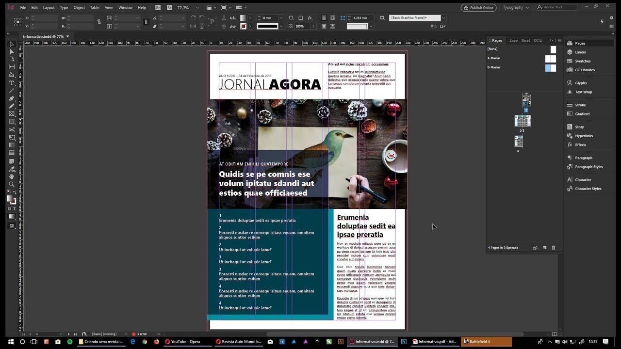 Criando uma revista/informativo no InDesign - YouTube