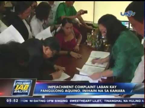Impeachment complaint laban kay Pangulong Benigno Aquino III, inihain na sa Kamara