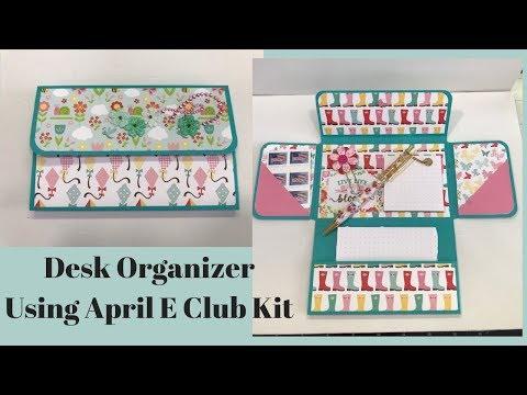 Desk Organizer and Handmade notepads using April E Club Kit Items