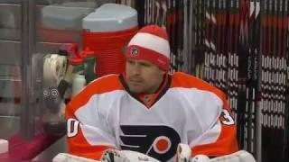 ilya bryzgalov gives stick to jets fan november 19 2011