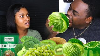 ASMR EATING ONLY GREEN FOODS | ASMR EATING NO TALKING MUKBANG | BEAUTY AND THE BEAST ASMR