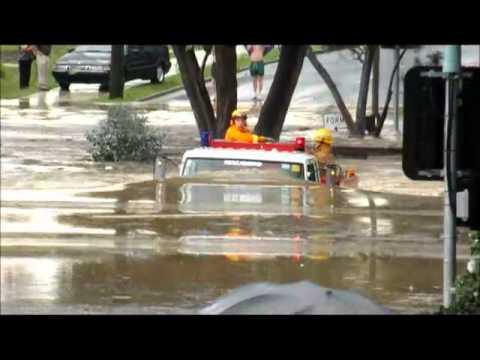 Crazy Fire Truck driving through flood
