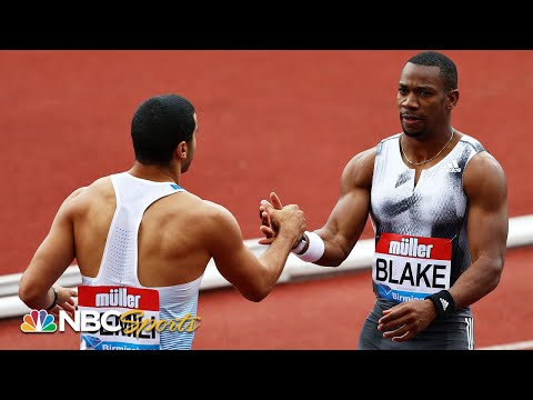 Blake and Gemili duel to near dead heat in 100m dash - Diamond League Birmingham | NBC Sports