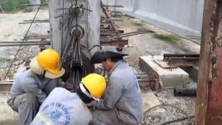 Stressing prestressed cable for I33 girder (part 1/3)