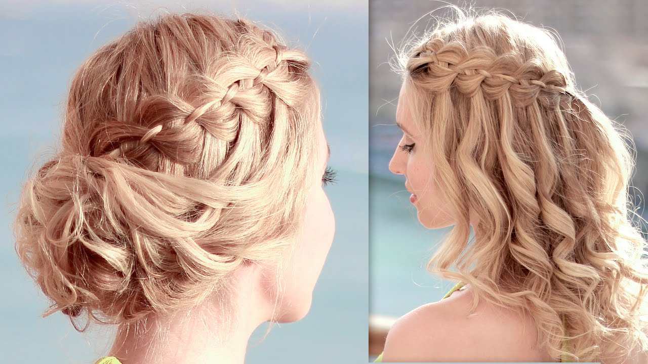 4 Strand Waterfall Braid Updo Hairstyles For Christmas Holidays New Year Party