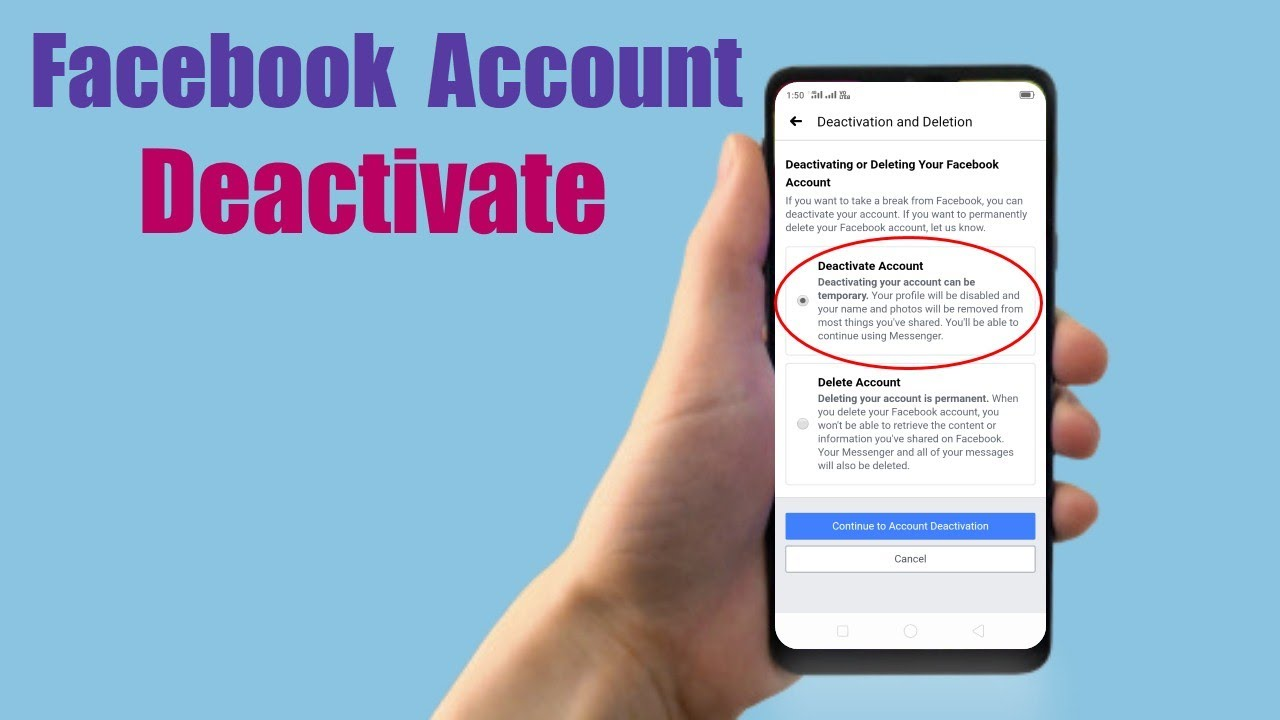 How to Deactivate Facebook Account On Mobile!!