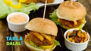 Chinese Burger Easy Homemade Burger Recipe Burger Meal by Tarla Dalal