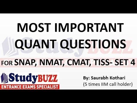 Important quant questions for SNAP   NMAT   CMAT   TISS   XAT- Set 4