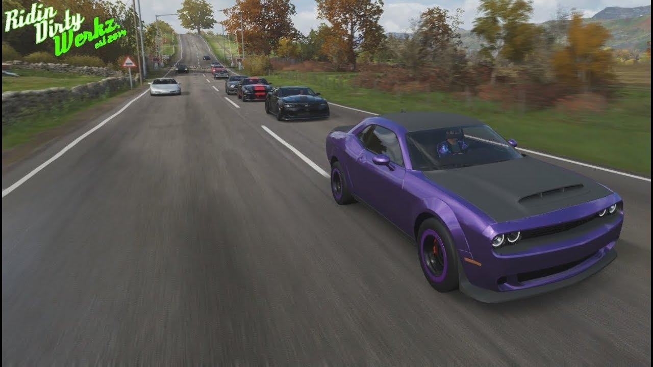 Forza Horizon 4 Drag Racing | 1100+HP Dodge Demon Build / Tune & 1000+HP Street Racing Car Meet