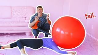 GIANT BALLOON CHALLENGE FAIL | Trying to make slime in giant balloon failed