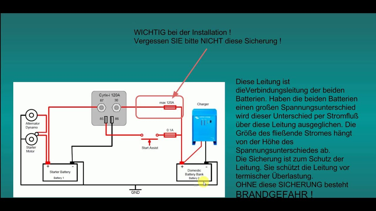 Batterie-Trennrelais elektronisch installieren - YouTube