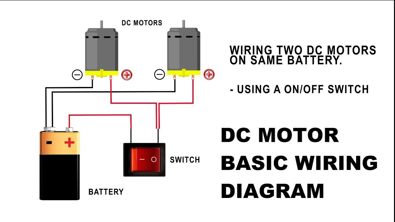 how to wire a dc motor on battery with switch and relay youtube rh youtube com dc motor wiring diagram 8 wire dc motor wiring color code