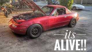 TURBO MIATA LIVES AGAIN With a Bigger Turbo! Ft. Haggard Garage