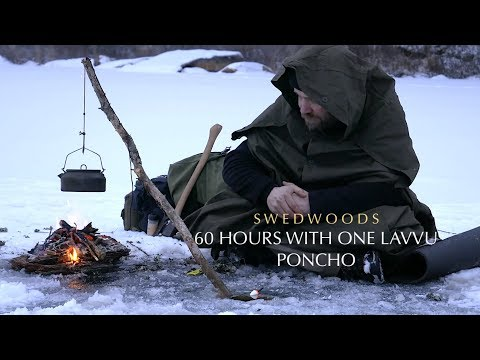 60 h Winter Bushcraft - A-Frame Bucksaw - One Lavvu Canvas Poncho - No Talking