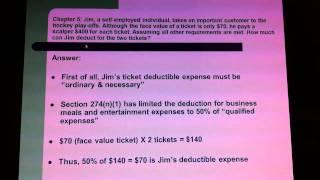 CALMAT BUS585: Taxation; Entertainment; Section 179 Deductible Expenses; Ordinary & Necessary