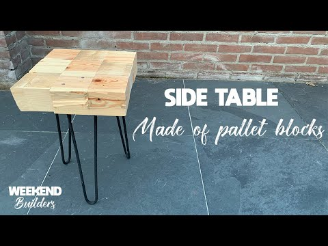 Side Table Made Of Pallet Blocks