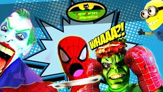 Spiderman NO HEAD vs Joker vs Hulk - Becomes Invisible Superheroes Compilation Funny Movie IRL