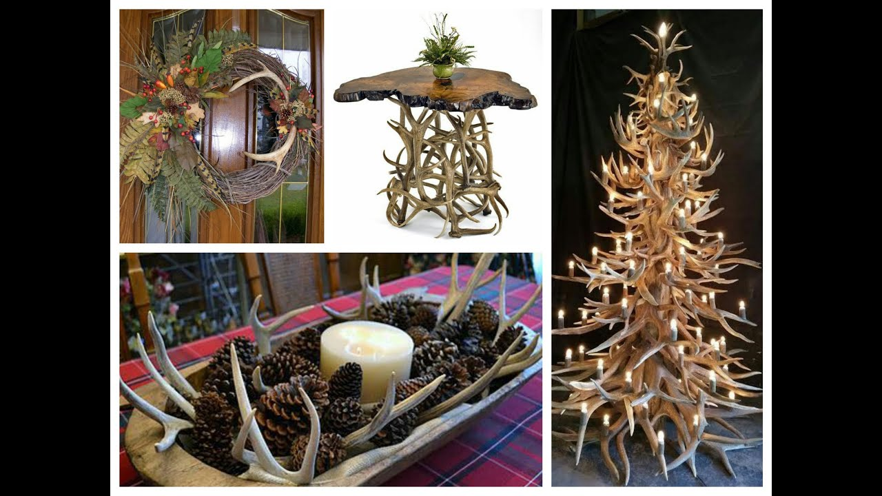 Antler decorations ideas rustic home decor youtube for Moose decorations home