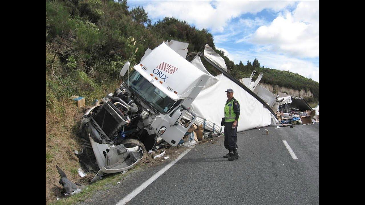 Oil patch truck wrecks in snow