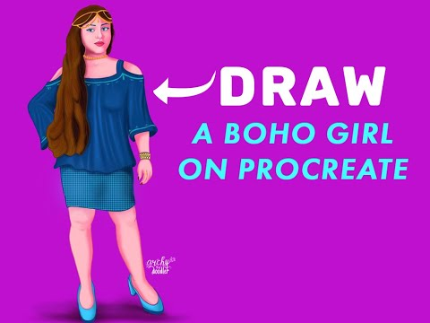 How - To Draw a BOHO Girl on Procreate - Time-lapse Video