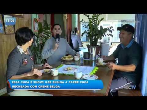 Telespectadora de Itajaí ensina a fazer cuca recheada com creme belga